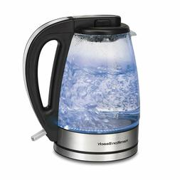 1.7-Liter Hamilton Beach 40865 Glass Electric Kettle, Brushe