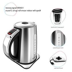 Homgeek 1.7L Stainless Steel Electric Kettle 1500W with Temp