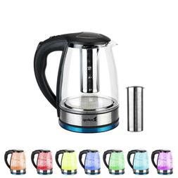 1.8L Colourful LED Light Glass Electric Water Tea Kettle Fas
