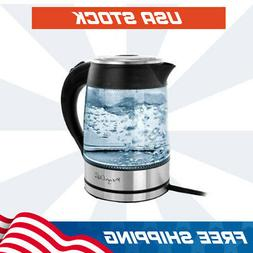 MegaChef 1.8Lt. Glass and Stainless Steel Electric Tea Kettl