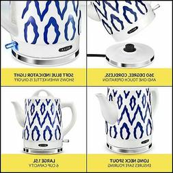 BELLA 14744 Electric Tea Kettle 1.5 LITER Blue Aztec Kitchen