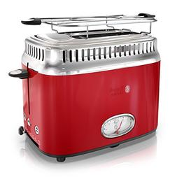 Russell Hobbs 2-Slice Retro Style Toaster, Red & Stainless S
