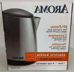 Aroma Hot AWK-266SB 1L Cordless Electric Water Kettle Stainl