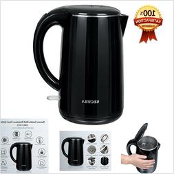 Electric Water Kettle Black Stainless Steel Double Wall Kitc