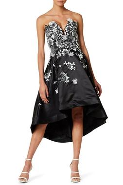 black white lace sweetheart fit flare high