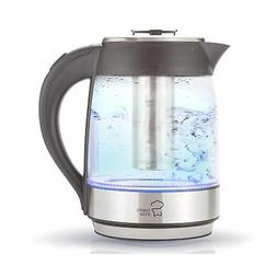 Chef's Star Borosilicate Glass Electric Kettle with Infuser,