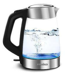 Cusimax 1.7L BPA-free Glass Electric Kettle, Cordless Water