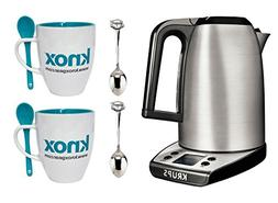 Krups BW314050 Savoy 1.7 Liter Digital Electronic Kettle + 2