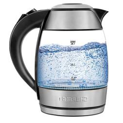 cordless electric glass kettle with removable tea