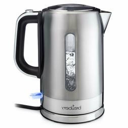 Brewberry Cordless Electric Kettle 1.7L, Stainless Steel Tea