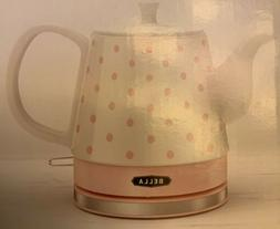 BELLA Electric Ceramic Kettle, Pink Dots And White New