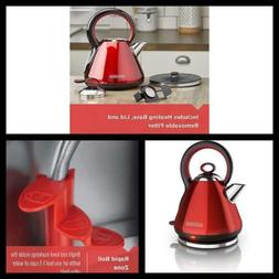 Electric Cordless Kettle Red 1.7L Stainless Steel Kitchen Wa