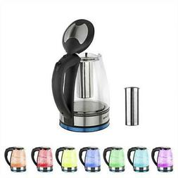 Electric Glass Hot Water Kettle 1.8L 1500W Pot Body with Mes