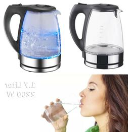 Electric Glass Kettle 2200W Cordless Rapid Boil 1.7L Blue LE