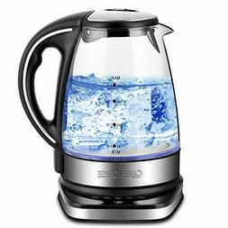Queen Sense Electric Kettle, 1500W 1.7L Water Boiler with 5-