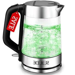 SUJUDE Electric Kettle - Glass Hot Water Boiler and Heater -