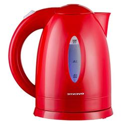 Ovente 1.7L Electric Kettle, Fast-Heating BPA-Free Cordless