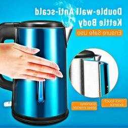 Electric Tea Kettle Stainless Steel DOUBLE-WALLED Water Heat
