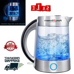 Electric Tea Kettle Stainless Steel Filter Clear Glass LED H