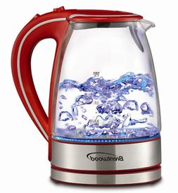 Electric Tea Kettle Tempered Glass Red & Silver 1.7 Liter Re