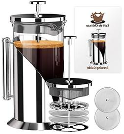 French Coffee Press  4 Level Filtration System Espresso Tea