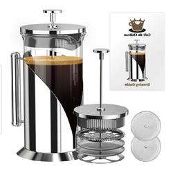 French Press Coffee Maker 4 Filtration System Cafe Du Chatea