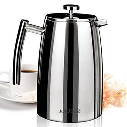 Secura 1500ML French Press Coffee Maker, 50-Ounce, Stainless