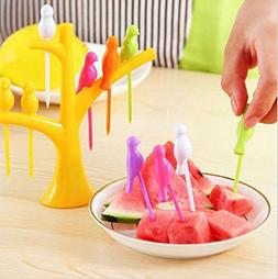 Fruit Fork - 6pc Lot Bird Fruit Snack Dessert Ks With Tree S