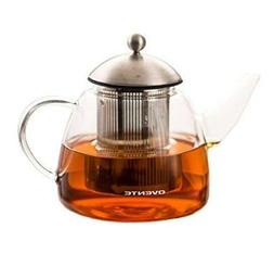 Ovente Glass Teapot, 61 oz, with Stainless Steel Mesh Filter
