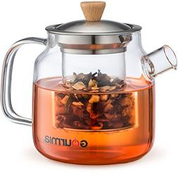 Gourmia GTP9810 Glass Tea Pot & Infuser With Handle, Lid & L