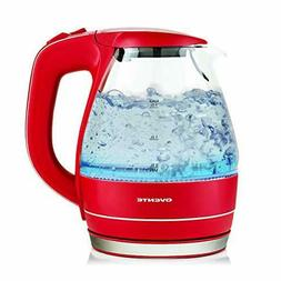 Ovente KG83 Series 1.5L Glass Electric Kettle, Red