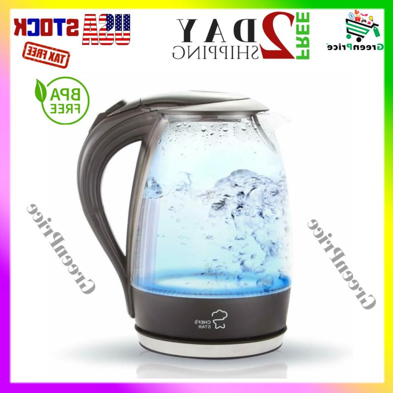 1.7L BPA-Free Glass Electric Kettle Fast Heating w/ Auto Shu
