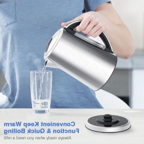 1.7L Cordless Electric Kettle Kitchen Hot Stainless