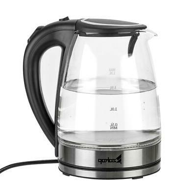 1500W Electric Glass Tea Kettle Fast Boiling LED
