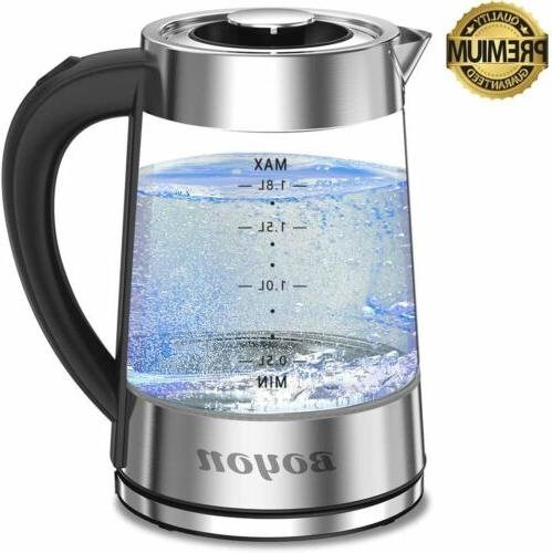 1.8L Electric Glass Kettle Fast Boiling Shut-off Light