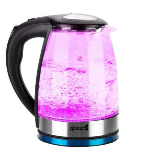 1.8L Water Kettle Colourful Glass with Mesh