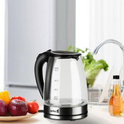 110V 1500W 1.8L Electric Glass Kettle Blue LED Light Kitchen