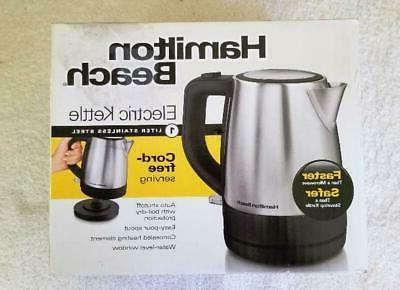 1 liter cordless electric kettle stainless silver