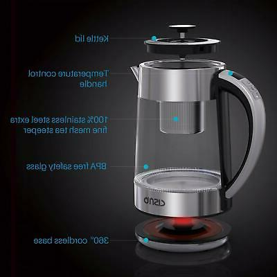 2 in 1 Kettle With Tea Infuser Temperature Control 1.7L