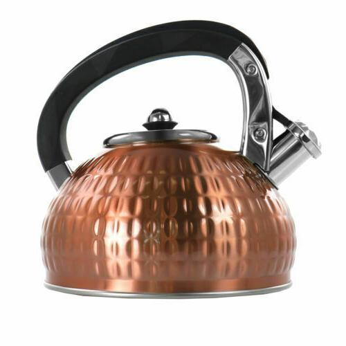 3l stovetop whistling tea kettle in copper