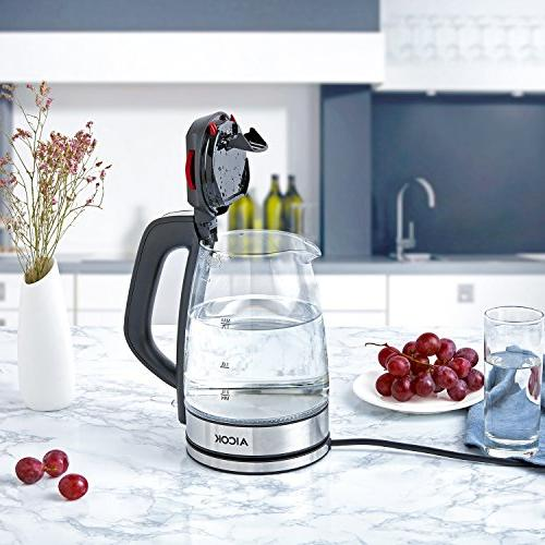 Aicok Glass Electric Kettle 1.7L Fast Kettle Premium Kettle Indicator Cordless Kettle, Off With Dry Protection Kettle,