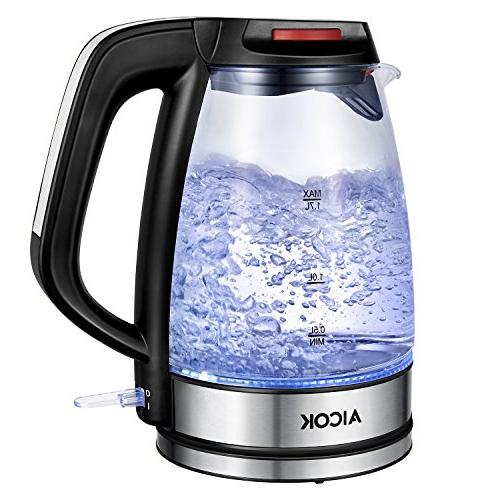 Aicok Glass 1.7L Water Premium Strix Thermostat Kettle LED Light Cordless Off Protection FDA Certified Tea Kettle,
