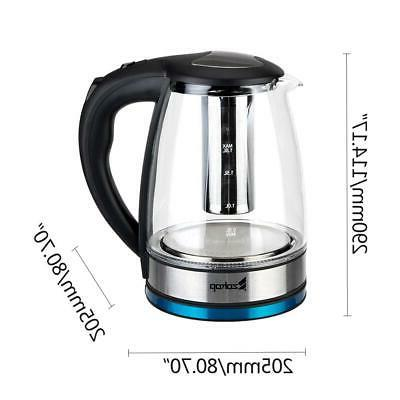 Electric Kettle Glass Water Boiler Fast Tea Kettle 1.8L LED