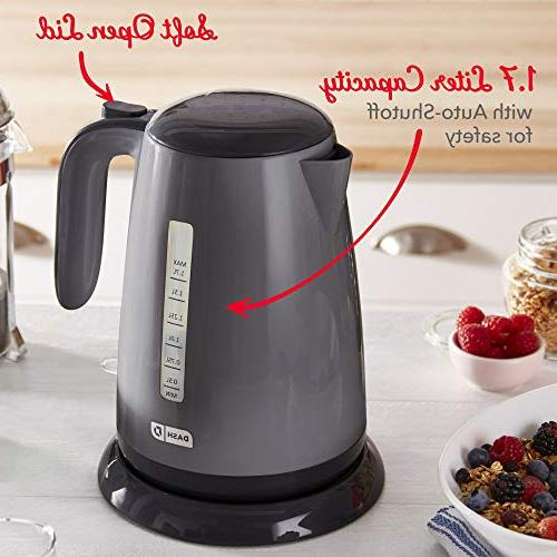 Dash Easy Electric Kettle + with Boil, Cool Touch Cordless Carafe + Auto Shut for Coffee, & More, / 1.7L, Grey