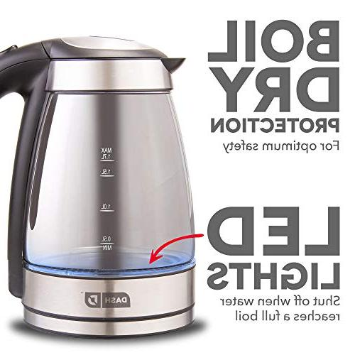 Kettle with Rapid Touch Handle, LED Lights Shut off Tea, Espresso More, 57 L - Black