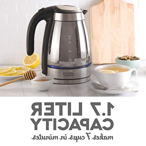 Dash Mirrored Kettle + Water Heater with Rapid Touch Cordless Carafe, LED Lights Shut Tea, & 57 oz / 1.7 L