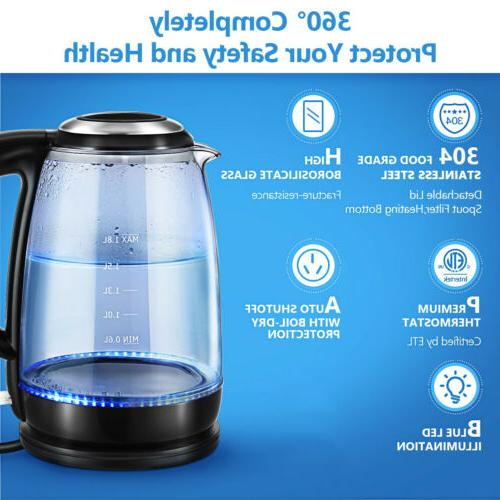 Electric Glass Water Boiler Fast Kettle w/Blue LED
