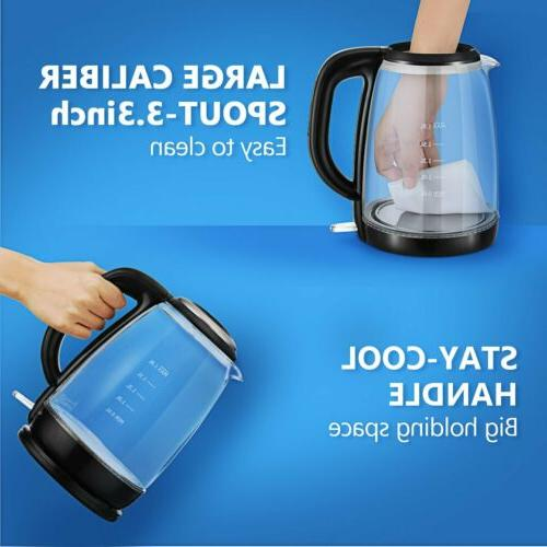 1.8L Electric Kettle Glass Portable Illumination Boiling