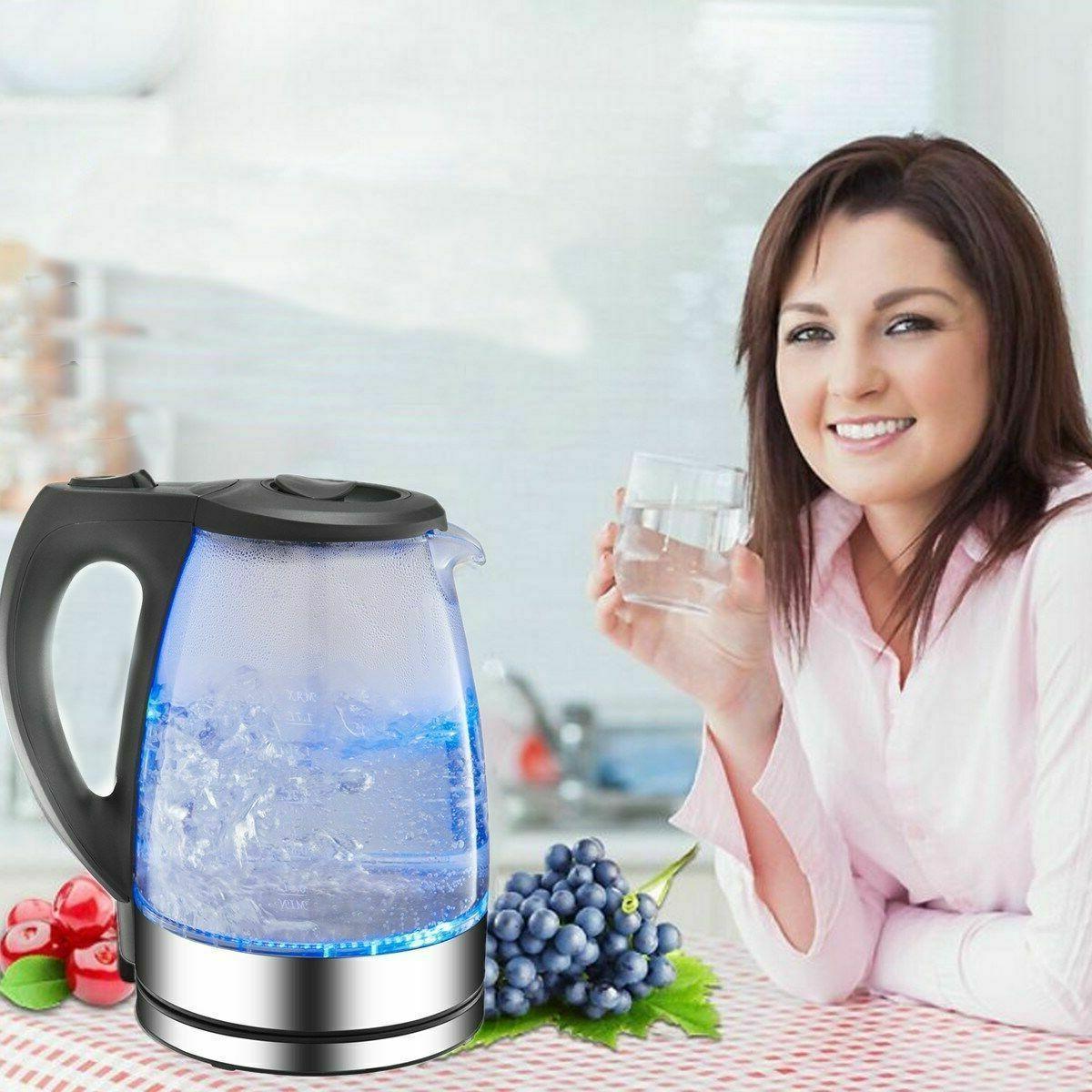 Electric Kettle Cordless Rapid Boil Blue Jug Water