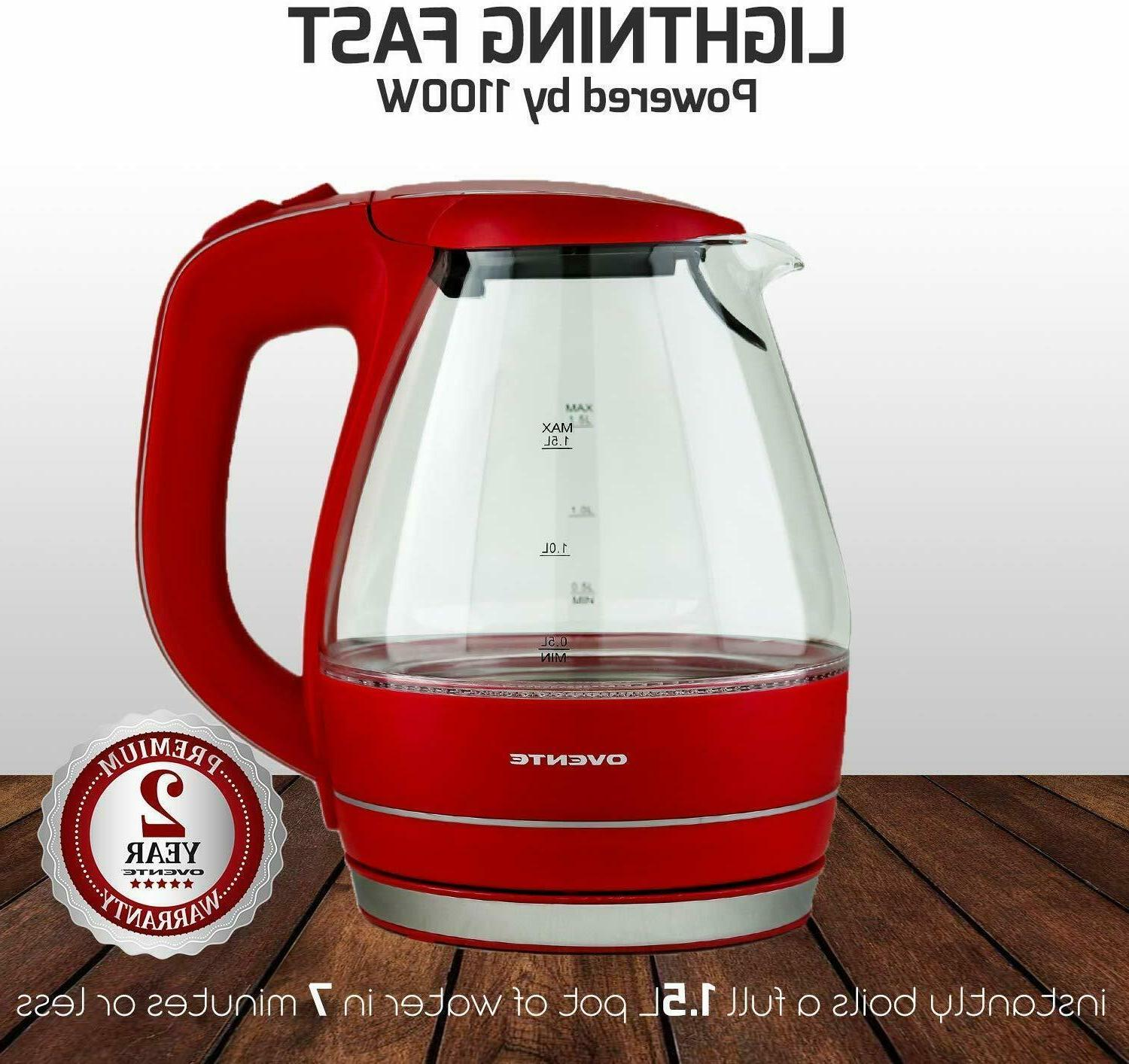 Ovente Electric Glass Water Tea Boiler 1.5 Liter Red KG83R